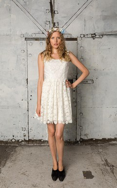 Short A-Line Sleeveless Pleated White Lace Dress