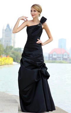 Siren Asymmetrical One-Shoulder Dress With Pick-Up Ruffles