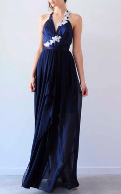 Deep V Neck Halter Backless Navy Blue Dress