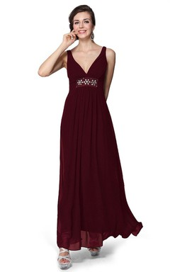 Backless V-neckline Tea-length Dress With Crystal
