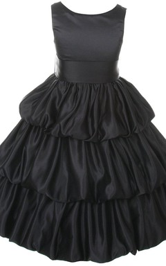 Sleeveless Scoop-neck A-line Taffeta Dress With Ruffles
