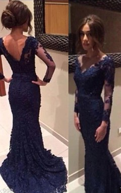 Gorgeous Long Sleeve Appliques Prom Dress 2016 Mermaid With Train