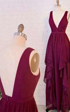 Beautiful Burgundy V-Neck Long Prom Dresses 2016 Chiffon Floor Length
