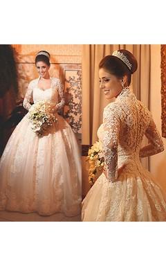 Modern Lace Long Sleeve 2016 Wedding Dress Ball Gown Button Zipper Back