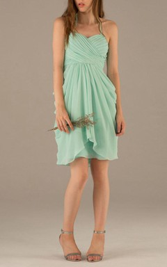 Draped Mint Cocktail Bridesmaid Dress