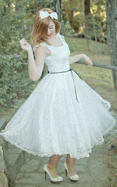 Short Mini Tea-Length Satin Lace Wedding Dress