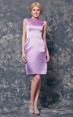 Vibrant Bateau Neckline A-line Short Satin Dress