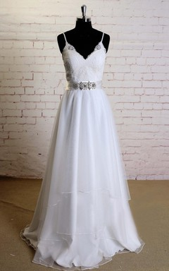 Spaghetti Strap Soft Layered Tulle Wedding Dress With Lace Top