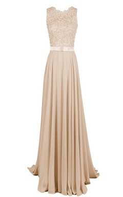 Sleeveless High-neck Long Dress With Floral Bodice