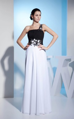 Black-And-White One-Shoulder Maxi Dress with Ruching and Appliqued Waist