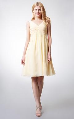 V-Neckline Empire Chiffon Knee-length Dress With Pleats