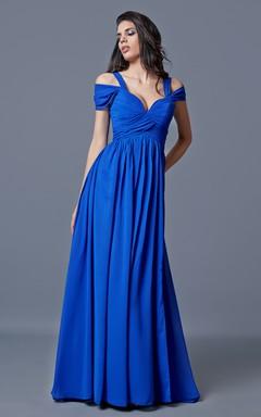 Off-the-shoulder Bandaged Long Chiffon A-line Dress