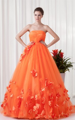 strapless a-line ball tulle gown with pleats and flower