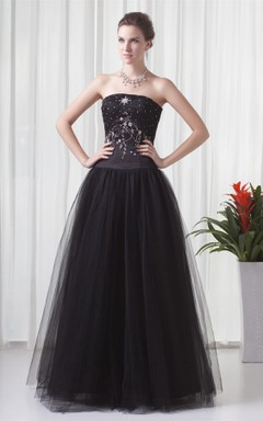 strapless ball a-line gown with tulle overlay and strass