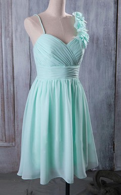 Mini Knee-length Spaghetti Strapped Sweetheart Chiffon Dress