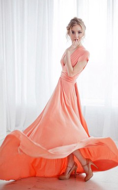 Short-Sleeved A-line Gown With Sash and Pleats