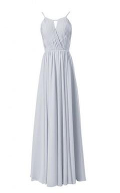 High-neck Long Chiffon Dress With Keyhole