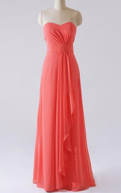 Sheath Maxi Strapped Sweetheart Chiffon Dress