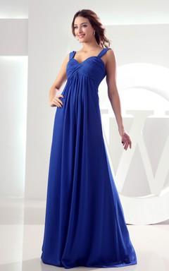 Sleeveless Chiffon Empire Floor-Length Dress Criss-Cross Ruching