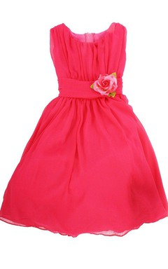Sleeveless A-line Dress With Flower and Pleats