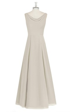 Chiffon Long Sleeveless A-Line Dress With Cowl Neck