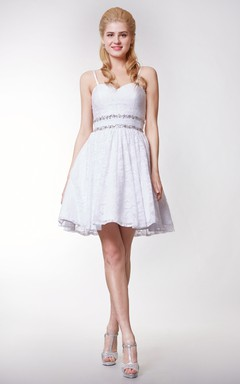 Gorgeous Sweetheart Empire Short Skirt With Lace and Removable Straps