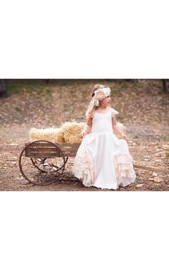 Vintage Lace Cap Sleeve Scoop Neck Ruffled A-line Jersey Flower Girl Dress