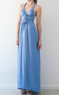 Chiffon Convertible Floor-Length Dress With Straps