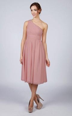 Dusky Pink One Shoulder Short Bridesmaid Prom Dress