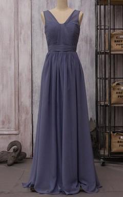 2016 Chiffon Steel Blue Bridesmaid Long Wedding V Neck Party Formal Maxi Floor Length Dress