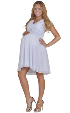 V-neck Short Chiffon Dress With Pleats