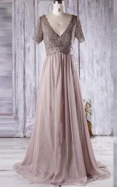 A-line Short Long V-neck Chiffon&Lace Dress