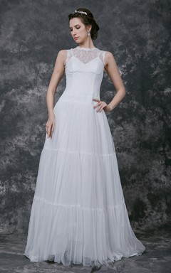Enchanting Sleeveless High Neck Illusion Back Tulle Gown