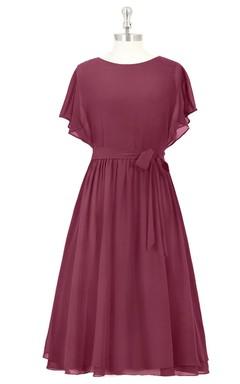 A-Line Chiffon Dress With Bateau Neckline and Bow Sash