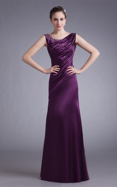 Sleeveless Satin Floor-Length Gown with Stress