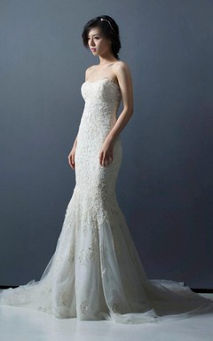 Sweetheart Lace Mermaid Wedding Dress With Court Train