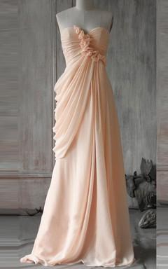 Floor-length Chiffon Dress With Draping&Flower&Ruffles
