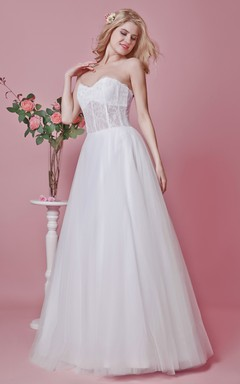 Sweetheart A-line Lace and Tulle Gown With Embroidery