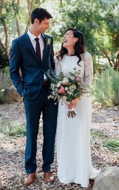 Jewel-Neck Lace Long Sleeve Chiffon Wedding Dress With Illusion