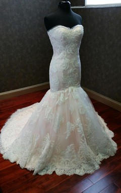 Custom Made Beautiful Mermaid Wedding Dress With Appliques