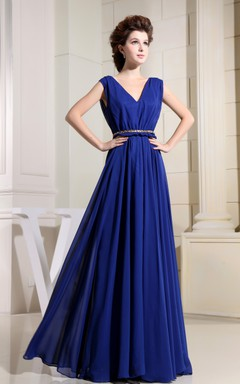 V-Neck Chiffon Floor-Length Dress With Ruching and Cinched Waist
