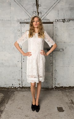 Timeless Knee Length Lace Wedding Dress With Short Sleeves