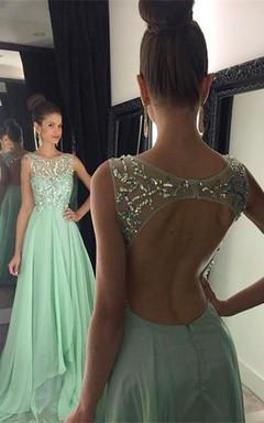 Newest Chiffon Beadings A-line 2016 Prom Dress Illusion Sweep Train