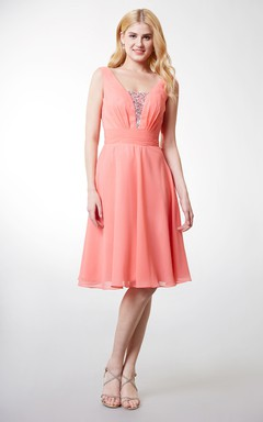 Pleated A-line Short Chiffon Dress With Crystal-detailing