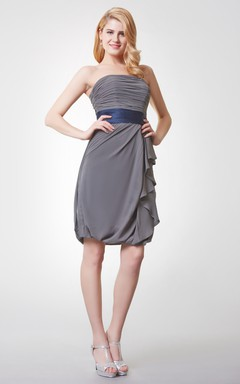 Sleeveless Ruched Draped Mini Chiffon Dress With Backless