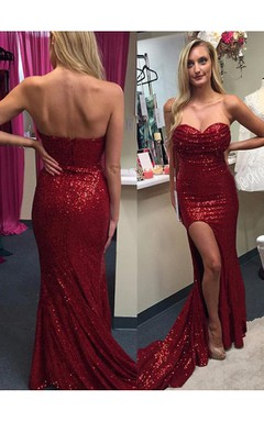 Sexy Red Sequins 2016 Prom Dresses Split Mermaid Zipper Back