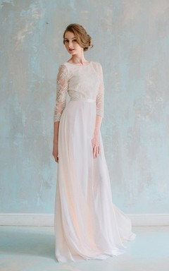 Jewel Neck 3/4 Sleeve Long Chiffon Dress With Lace Bodice and Sash