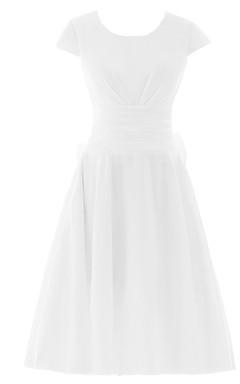 Short Sleeve Ruched Sash Midi-length Pleated Chiffon Dress