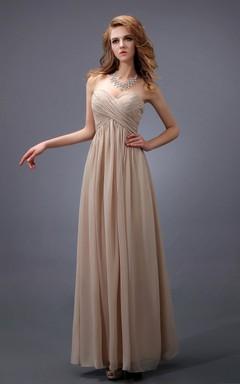 Empire Sweetheart Sleeveless Dress With Crisscross Ruching