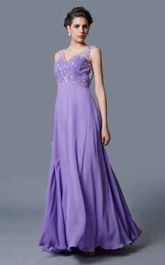 Ethereal Empire Waist Deep V-neck Princess Gown Elegant Beadwork Chiffon Skirt